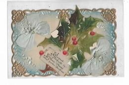 Celluloid   -  Message  De  Bonne  Année  ,  Ruban  Bleu  Et  Houx  Ajouté    :  Carte  Dorée - Postkaarten