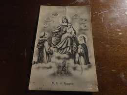 CARTOLINA NOSTRA MADONNA DEL ROSARIO VIAGGIATA 1932 CON 3 FRANCOBOLLI DA 5 LIRE - Vergine Maria E Madonne