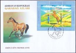 Azerbaijan - Karabakh Horses, FDC With Souvenir Sheet - 1 Stamp, 2006 - Pferde