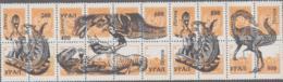 PREHISTORIC ANIMALS - URALS  - CINDERELLA - DINOSAURS SET OF 20 O/P  ON ORANGE STRIP OF 20 STAMPS MNH - Prehistorics