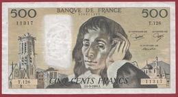 "500 Francs ""Pascal"" Du 04/09/1980.J----F/TTB+---ALPH. T.126 - 1962-1997 ''Francs''"