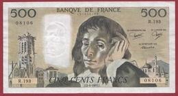 """500 Francs """"Pascal"""" Du 02/06/1983.J----VF/SUP---ALPH. R.193 - 1962-1997 ''Francs''"""