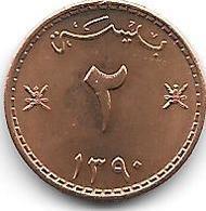 *Muscat-oman 2 Baisa Ah1390 KM 36 UNC - Omán