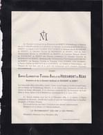 Château De WALDENBOURG MEROLS  MORESNET Sophie De HODIAMONT De NEAU Veuve De RESIMONT De BEMPT 1794-1889 - Todesanzeige