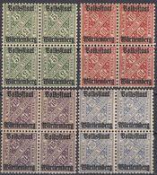 WUERTTENBERG - 1919 - Lotto Di 4 Quartine Nuove MNH: Yvert 92, 94, 95 E 96. - Wurttemberg
