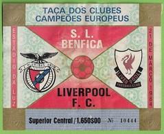 Lisboa - Estadio Da Luz - Benfica - Liverpool - Bilhete - Ticket Billet Futebol Football Stadium Stade Portugal England - Tickets D'entrée