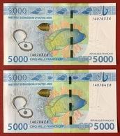 Polynésie Française - 2 X 5 000 FCFP - 2014 - N° 140763 E8 / Signatures Noyer-de Seze-La Cognata - Neuf/jamais Circulé - Papeete (French Polynesia 1914-1985)