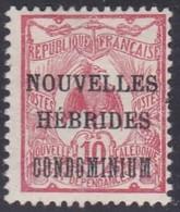 New Hebrides, Scott #7, Mint Hinged, New Caledonia Overprinted, Issued 1910 - Leggenda Francese