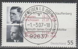 BRD - Allemagne - Germany - 2007 -Graf Von Stauffenberg  - MiNr. 2590 Gestempelt Lot 1 - BRD