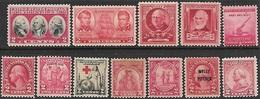 US 1920s-40s  12 Diff Mint (mostly MNH)  2016 Scott Value $5.70 - Neufs