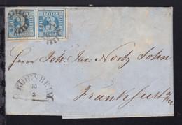 3 Kr.  Waager. Paar Auf Bf. Mit MSt. 78 + Halbkreis-Stpl. DEIDESHEIM 13.3.(1858) - Bavaria