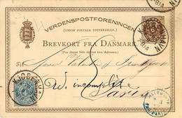 1880- C P E P  6 Ore +  Stamp 4 Ore Canc. Kjobenhavn - French Taxation 15 C. French Entrance Allemagne / Paq. Paris - 1864-04 (Christian IX)