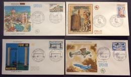 0360 Béziers Philatélie 1567 Aigues-Mortes Huguenotes 1566 Martrou 1564 Postale Avion 1565 FDC PJ 1968 Lot 4 Lettre - 1960-1969