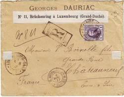 1 Fr Adolphe N° 66 Obl SEUL Sur Lettre RECOMMANDEE POUR LA FRANCE 1897 , RARE !!!! LUXEMBOURG - 1891 Adolphe Frontansicht