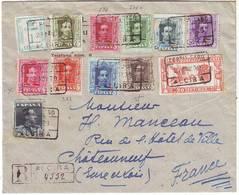 ESPAGNE Superbe Lettre ALPHONSE XIII Obl ALCIRA Pour La France 1929 - 1889-1931 Royaume: Alphonse XIII