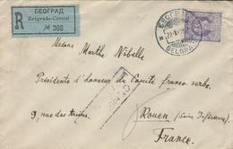 1919- Reg. Cover From Belgrad Fr. 50 P  To Rouen ( France ) - Serbie