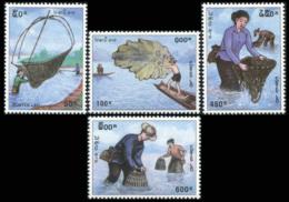 208- Laos 1998  YT 1299-1302 ; Mi# 1616-19 **  MNH  Traditional Fishing Gear - Laos