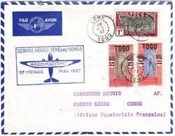 LOME TOGO Lettre Par Avion Premier Vol SENEGAL CONGO Par AEROMARITIME - Marcophilie (Lettres)