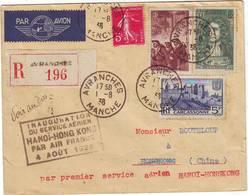 Avranches Manche Lettre Pour La Chine Par Avion Premier Vol HANOI HONG KONG - Marcophilie (Lettres)