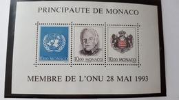 MONACO BLOC FEUILLET BF YT 62 MEMBRE DE L'ONU 1993 NEUF SANS CHARNIERE**TTB - Monaco