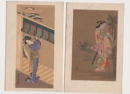 2 Jolies  Cpa Japonaises Fantaisie / Femme En Costume Traditionnel - Altri
