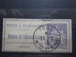 """VEND BEAU TIMBRE TELEPHONE DE FRANCE N° 22 , OBLITERATION """" TOUL """" !!! - Telegrafi E Telefoni"""