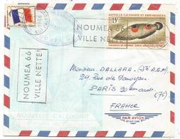 FM DRAPEAU  MIXTE PA 13FR LETTRE AVION NOUMEA NOUVELLE CALEDONIE 19.4.1966 + MARINE DU PACIFIQUE - Franchigia Militare (francobolli)