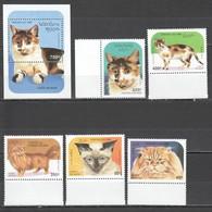 E249 1995 POSTES LAO FAUNA PETS CATS CHATS DE RACE 1BL+1SET MNH - Domestic Cats