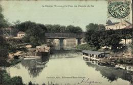 Cp Villeneuve Saint Georges Val De Marne, Riviere L'Yerres, Le Pont Du Chemin De Fer - France