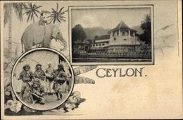 Cp Sri Lanka, Elefanten, Tempel, Tänzer, Musiker In Kostümen - Sri Lanka (Ceylon)