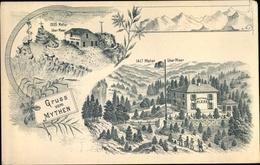 Lithographie Rickenbach Bei Schwyz Kanton Schwyz, Gasthaus Zur Holzegg U. Mythen - SZ Schwyz