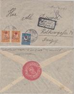 Türkei  - 1 Pia. +2x5 Pa. Freimarken/Überdruck Zensurbbrief Yeni-Gjami - Danzig - Türkei