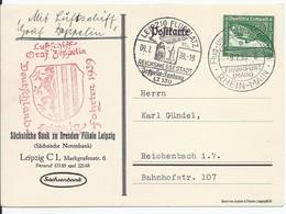 Dt.- Reich (000983) Zeppelinpostkarte (Graf Zeppelin) Sieger 457, Mit Rotem Bestättigungsstempel, Gelaufen - Briefe U. Dokumente