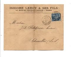 SAGE SUR LETTRE A EN TETE DE PARIS GARE DU NORD 1882 - Marcofilie (Brieven)