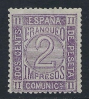 ESPAÑA 1872 CIFRA  2c VIOLETA Nº 116a - Nuevos