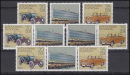 2412-2413 Automobilbau In Zwickau, 3 Zusammendrucke + 2 Ezm, Set Postfrisch ** - DDR