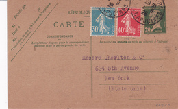 Carte Pasteur 20 C Vert C1 Oblitérée Pour Les Etats Unis Repiquage Pitt Et Scott - Bijgewerkte Postkaarten  (voor 1995)