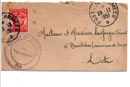 LETTRE FM CACHET GROUPE DE TRANSPORT 354 1951 - Militaire Stempels Vanaf 1900 (buiten De Oorlog)