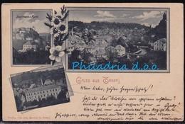 Tešanj, Mosaic Of Several Motifs, Mailed 1898, Diagonaly Creased - Bosnien-Herzegowina