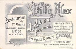 """CPA / CARTE DE VISITE FRANCE 38 """"Grenoble, Villa Alex, Restaurant, J.ALEX, Cours Saint André"""" - Grenoble"""