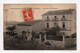 - CPA PRADES-SUR-VERNAZOBRE (34) - Avenue St-Chinian 1914 (avec Personnages) - Edition Berjaud - - Francia