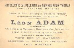 """CPA / CARTE DE VISITE FRANCE 50 """"Hotellerie Des Pélerins Du Bienheureux Thomas, Biville Plage, Léon ADAM"""" - Andere Gemeenten"""