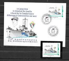 70è Anniversaire Du Débarquement Du Général DE GAULLE à COURSEULLES 14/06/14 Sur Montimbramoi  + 1 Timbre Neuf - Storia Postale