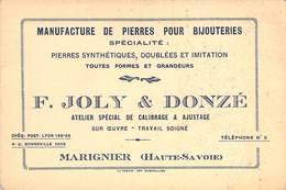 """CPA / CARTE DE VISITE FRANCE 74 """"Marignier, Manufacture De Pierres Pour Bijouterie F. JOLY & DONZE"""" - Autres Communes"""
