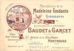 """CPA / CARTE DE VISITE FRANCE 92 """"Montrouge, Avenue De La République, Manufacture De Madeleines, BAUDET & GARCET"""" - Montrouge"""