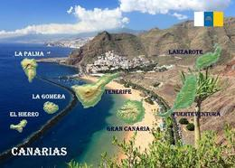 Canary Islands Map Spain Islas Canarias New Postcard Kanarische Inseln Landkarte AK - Spagna