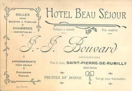 """CPA / CARTE DE VISITE FRANCE 74 """"Saint Pierre De Rumilly, Hotel Beau Séjour, JJ BOUVARD"""" - Andere Gemeenten"""