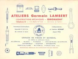 "CPA / CARTE DE VISITE FRANCE 90 ""Giromagny, Ateliers Germain LAMBERT, Constructions Mécaniques"" - Giromagny"