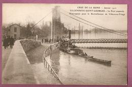 Cpa Crue De La Seine Janvier 1910 - Villeneuve Saint Georges Pont Suspendu Remorqueur Pour Le Ravitaillement éditeur ELD - Villeneuve Saint Georges