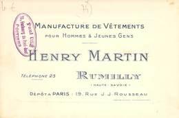 "CPA / CARTE DE VISITE FRANCE 74 ""Rumilly, Manufacture De Vêtements Henry MARTIN"" - Rumilly"